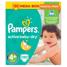 Pampers Active Baby-Dry 4+ Maxi+ (9-16 kg) - 120 db