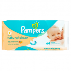 Pampers Natural Clean törlőkendő 64 db