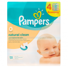 Pampers Natural Clean baba törlőkendő 4 x 64 db