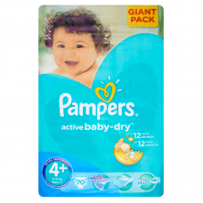 Pampers Active Baby-Dry 4+ Maxi+ (9-16 kg) - 70 db