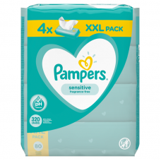 Pampers Sensitive baba törlőkendő 4 x 80 db