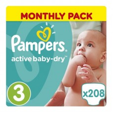 Pampers Active Baby-Dry 3 Midi (4-9 kg) - 208 db